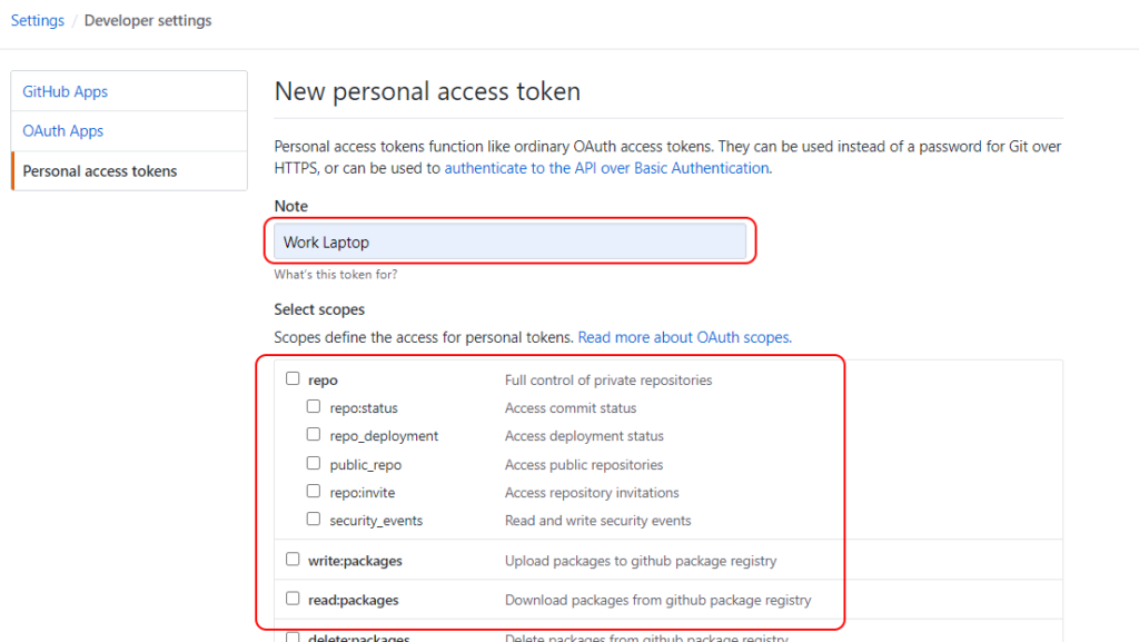 GitHub Create New Personal Access Token