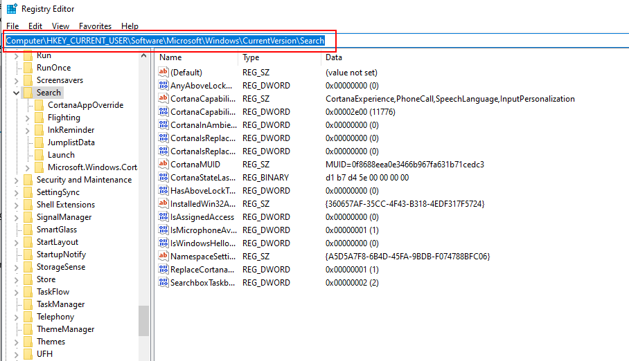 Registry Editor Screenshot