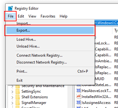 Registry Editor Export Screenshot