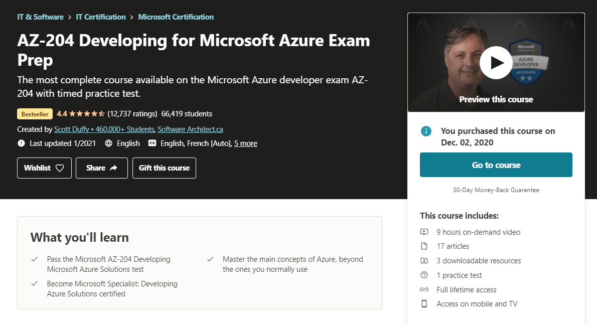 AZ-204 Developing for Microsoft Azure Exam Prep